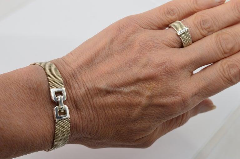 Tiffany & Co. Sterling Silver Somerset Mesh Bracelet w Buckle & Ring w Diamonds For Sale 2