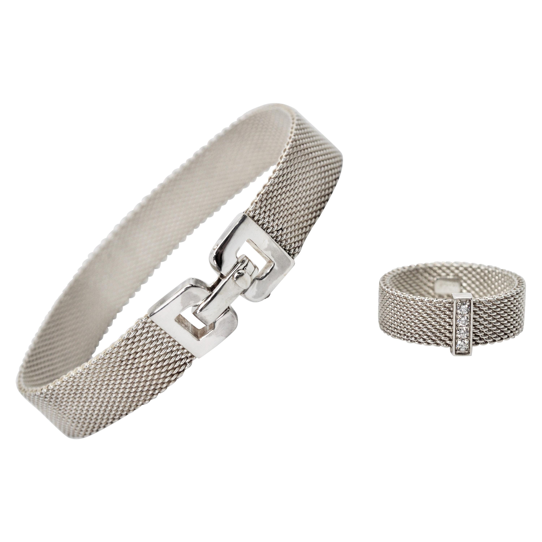 Tiffany & Co. Sterling Silver Somerset Mesh Bracelet w Buckle & Ring w Diamonds