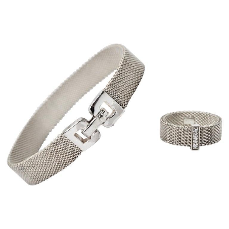 Tiffany & Co. Sterling Silver Somerset Mesh Bracelet w Buckle & Ring w Diamonds For Sale