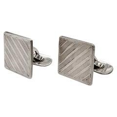 Tiffany & Co. Sterling Silver Striped Square Cufflinks