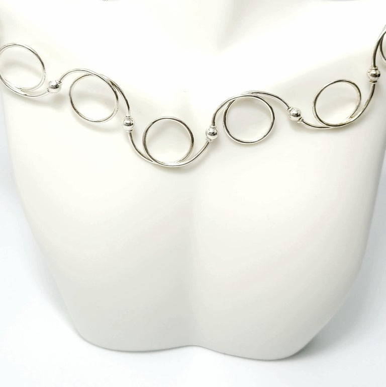 Tiffany & Co. Sterling Silver Swirl Twirl Circle and Bead Necklace For Sale 1