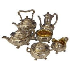 Tiffany & Co. Sterling Silver Tea Set with Chrysanthemums 6pc One of a Kind