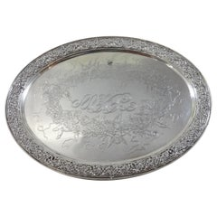 Tiffany & Co. Sterling Silver Tray Footed with Acid Etched Cherubs