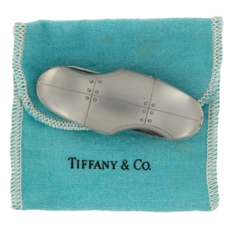 Tiffany & Co. Streamerica Carapace Stainless Steel Swiss Army Utility Knife In Excellent Condition For Sale In Troy, MI