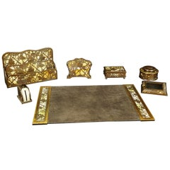 Tiffany & Co. Studios New York Seven-Piece Bronze Desk Set, Early 20th Century