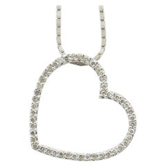 Tiffany & Co. Style 18 Carat White Gold Heart Pendant Necklace