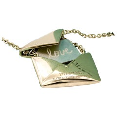 Tiffany & Co. Sweet Nothing Envelope Necklace 18 Karat Yellow Gold
