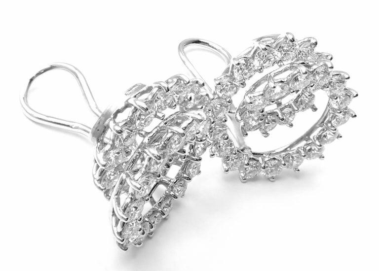 Women's or Men's Tiffany & Co. Swirl Diamond Platinum Earrings For Sale