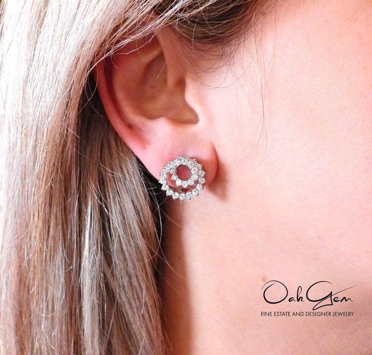 Tiffany & Co. Swirl Diamond Platinum Earrings For Sale 1