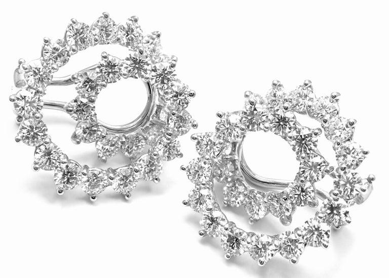 Tiffany & Co. Swirl Diamond Platinum Earrings For Sale 3