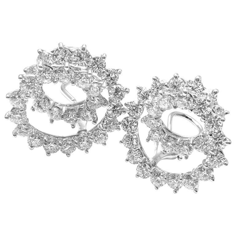 Tiffany & Co. Swirl Diamond Platinum Earrings For Sale