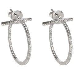 Tiffany & Co. T Diamond Hoop Earrings in 18 Karat White Gold 0.41 Carat