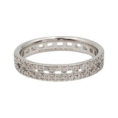 Tiffany & Co. 'T True Narrow' White Gold and Pavé Diamond Ring
