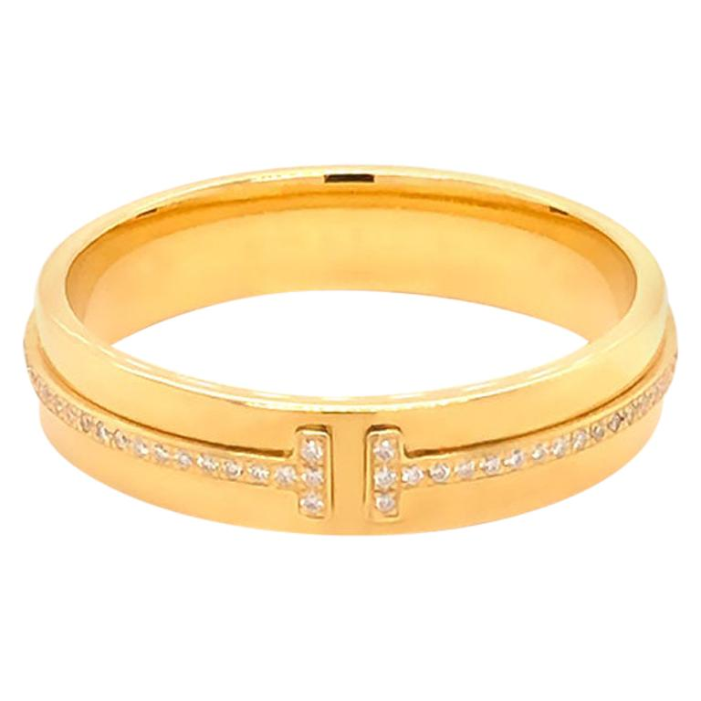 Tiffany & Co. T Wide Diamond Band Ring, 18 Karat Yellow Gold For Sale