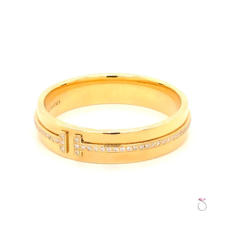 Modern Tiffany & Co. T Wide Diamond Band Ring, 18 Karat Yellow Gold For Sale