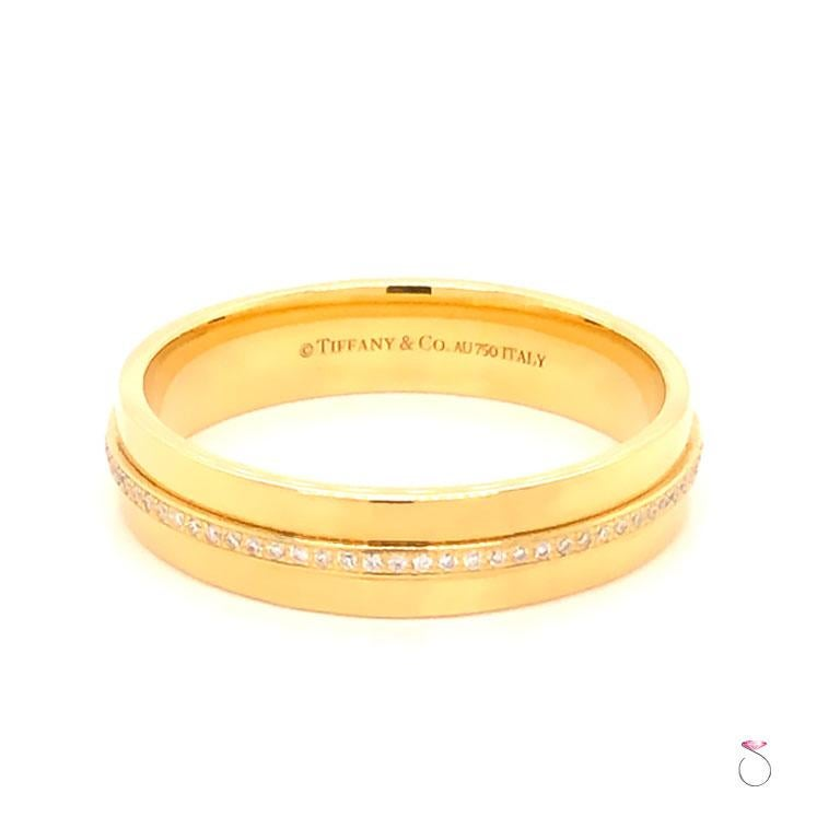 Round Cut Tiffany & Co. T Wide Diamond Band Ring, 18 Karat Yellow Gold For Sale