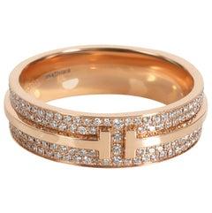 Tiffany & Co. T Wide Pavé Diamond Ring in 18 Karat Rose Gold 0.61 Carat