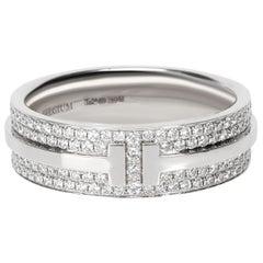 Tiffany & Co T Wide Pavé Diamond Ring in 18 Karat White Gold 0.58 Carat
