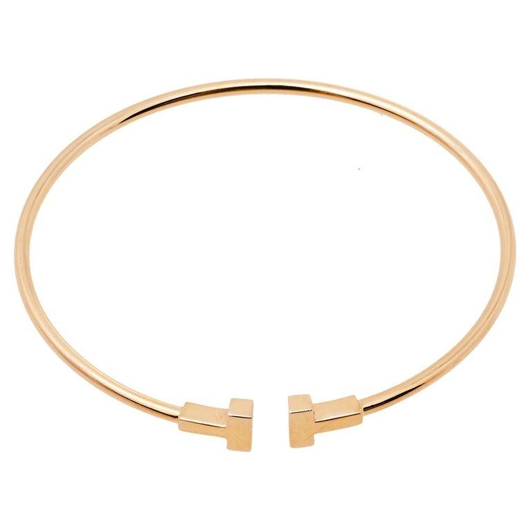 Women's Tiffany & Co. T Wire 18K Rose Gold Narrow Bracelet For Sale