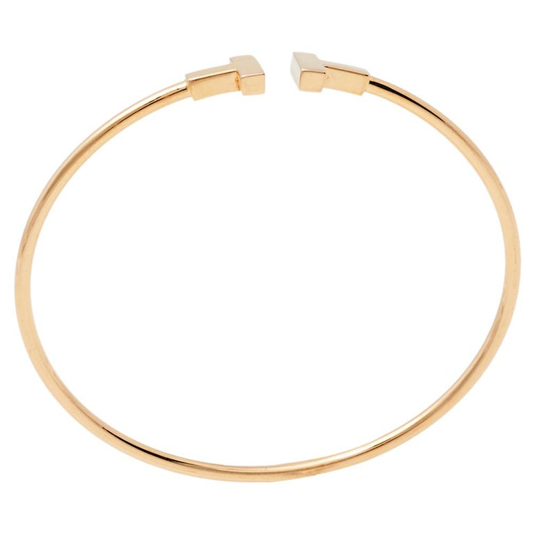 Tiffany & Co. T Wire 18K Rose Gold Narrow Bracelet For Sale 1
