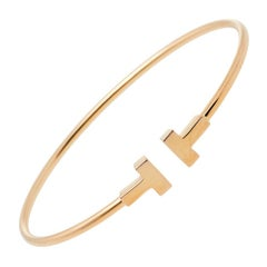 Tiffany & Co. T Wire 18K Rose Gold Narrow Bracelet