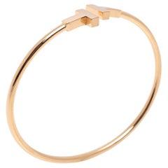 Tiffany & Co. T Wire 18K Rose Gold Narrow Open Cuff Bracelet
