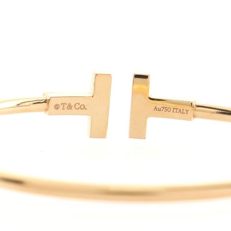 Women's or Men's Tiffany & Co. T Wire Bracelet 18K Rose Gold with Diamonds and Mother of Pearl For Sale