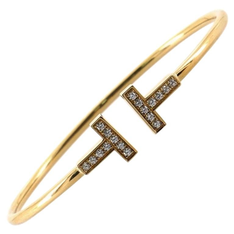 Tiffany & Co. T Wire Bracelet 18K Yellow Gold with Diamonds Narrow