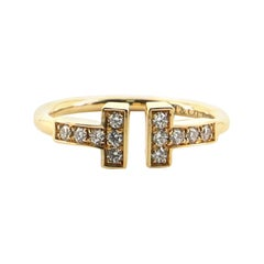 Tiffany & Co. T-Wire Ring 18 Karat Yellow Gold with Diamonds 4.5-48