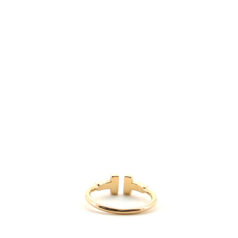 Tiffany & Co. T Wire Ring 18 Karat Rose Gold with Diamonds In Good Condition For Sale In New York, NY