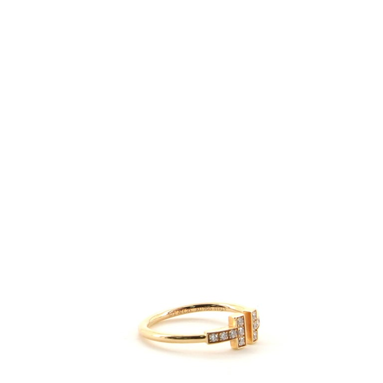 Women's or Men's Tiffany & Co. T Wire Ring 18 Karat Rose Gold with Diamonds For Sale