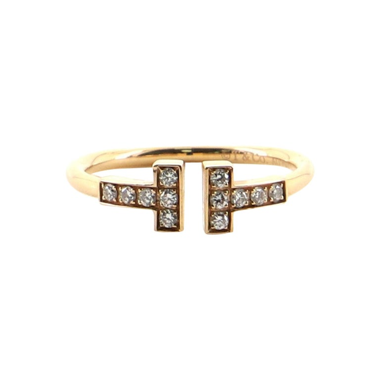 Tiffany & Co. T Wire Ring 18 Karat Rose Gold with Diamonds For Sale