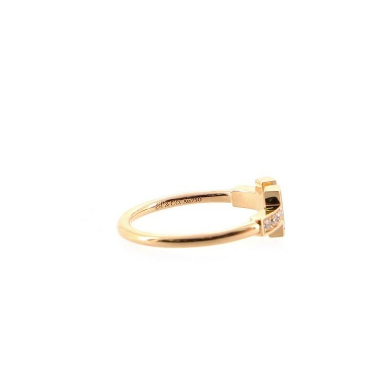 Women's or Men's Tiffany & Co. T Wire Ring 18K Rose Gold with Diamonds For Sale