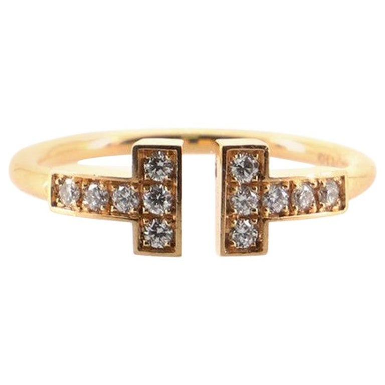 Tiffany & Co. T Wire Ring 18K Rose Gold with Diamonds For Sale