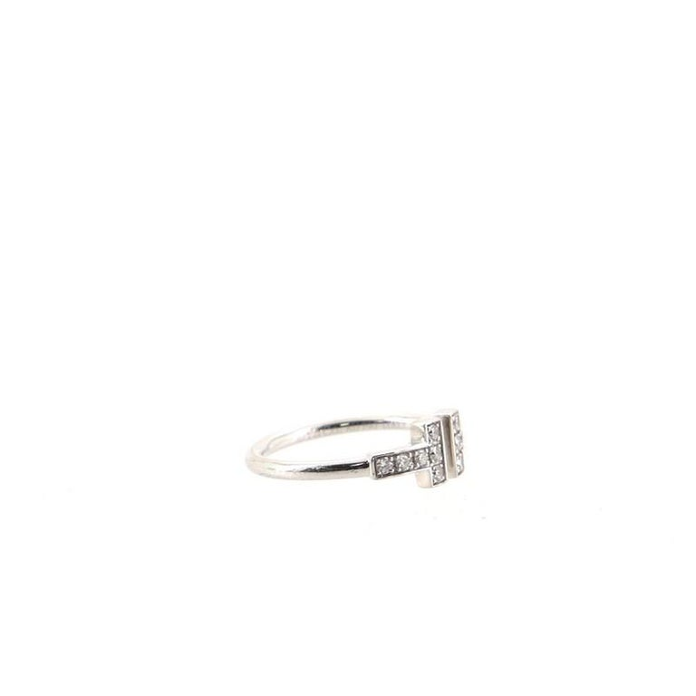Tiffany & Co. T Wire Ring 18k White Gold with Diamonds 18k White Gold In Good Condition For Sale In New York, NY