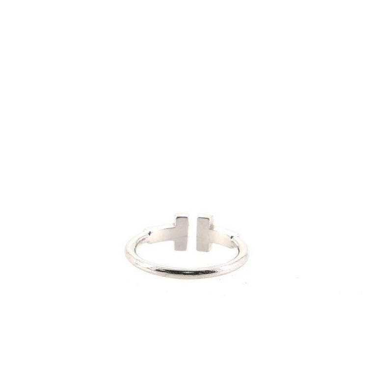 Women's or Men's Tiffany & Co. T Wire Ring 18k White Gold with Diamonds 18k White Gold For Sale