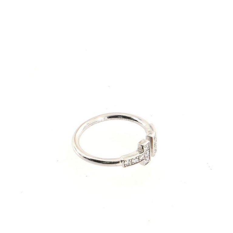 Tiffany & Co. T Wire Ring 18k White Gold with Diamonds 18k White Gold For Sale 1