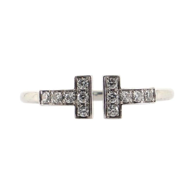 Tiffany & Co. T Wire Ring 18K White Gold with Diamonds 18K White Gold