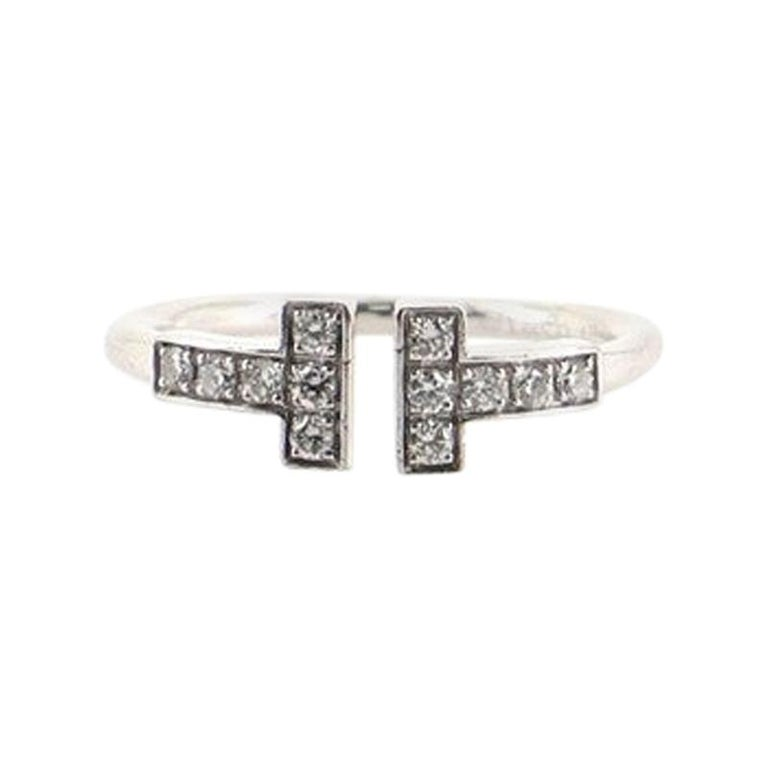 Tiffany & Co. T Wire Ring 18k White Gold with Diamonds 18k White Gold For Sale