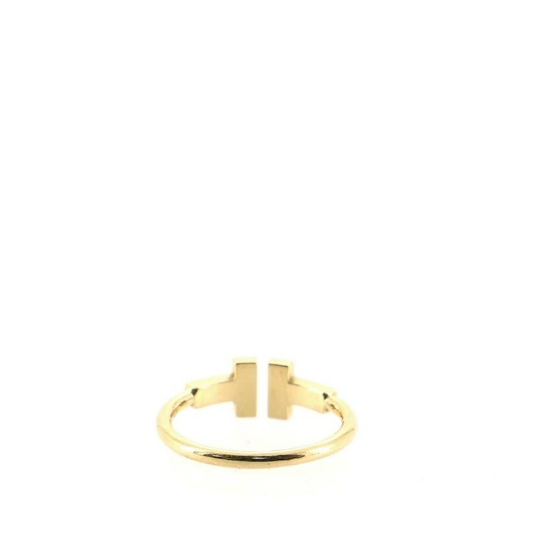 Tiffany & Co. T Wire Ring 18k Yellow Gold with Diamonds In Good Condition For Sale In New York, NY