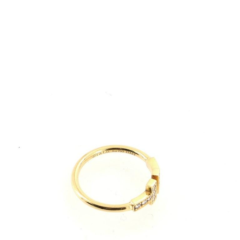 Women's or Men's Tiffany & Co. T Wire Ring 18k Yellow Gold with Diamonds For Sale