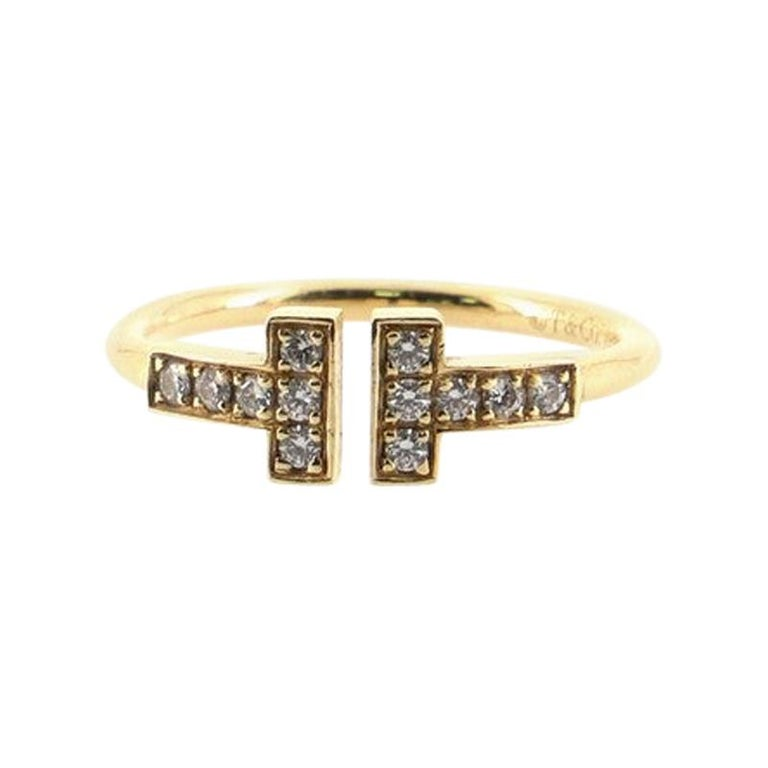 Tiffany & Co. T Wire Ring 18k Yellow Gold with Diamonds For Sale