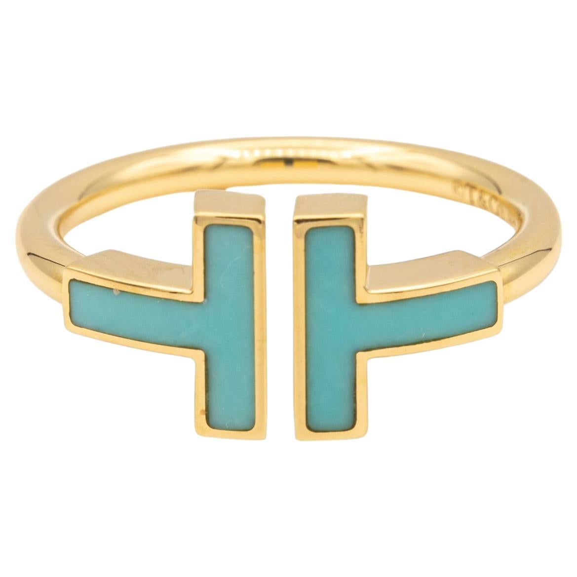 Tiffany & Co. T Wire Turquoise Ring in 18 Karat Gold