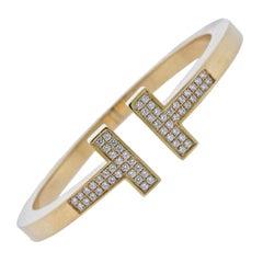 Tiffany & Co. T Yellow Gold Diamond Square Bracelet