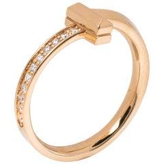 Tiffany & Co. T1 Diamond 18K Rose Gold Narrow Ring Size 54.5