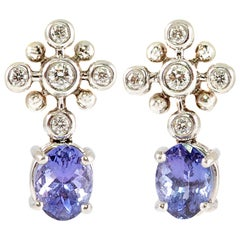 "Tiffany & Co. 2.50 Carat Tanzanite Diamond Plat Earrings ""Snowflake Collection"""