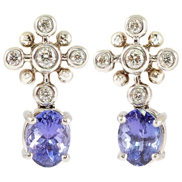 Tiffany Co 2 50 Carat Tanzanite Diamond Plat Earrings Snowflake Collection