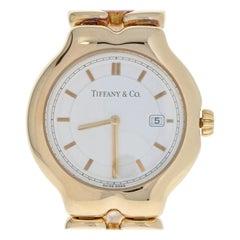 Tiffany & Co. Tesoro Men's Watch, 18 Karat Yellow Gold Quartz 2 Year Warranty