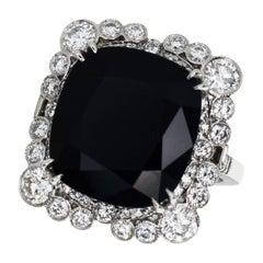 Tiffany & Co. The Gatsby Collection Black Onyx Diamond Platinum Ring