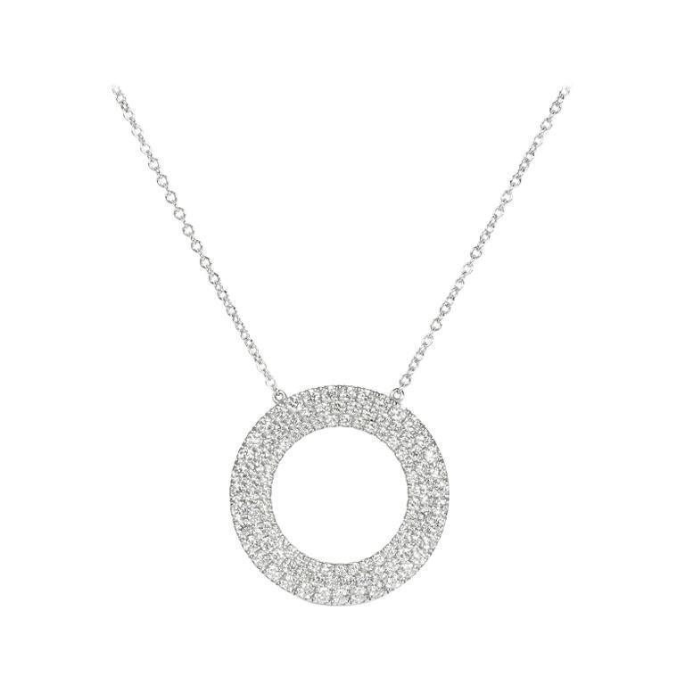 2e32763d3 Tiffany and Co. Metro Three-Row Diamond Gold Circle Pendant Necklace at  1stdibs